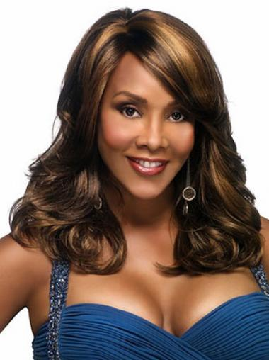 Brown With Bangs Wavy Sleek African American Wigs
