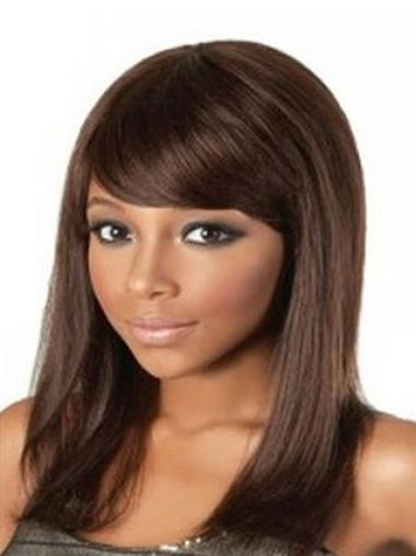 Indian Remy Hair Auburn Straight Flexibility African American Wigs