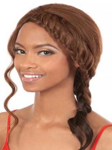 Brown Without Bangs Synthetic Sleek African American Wigs