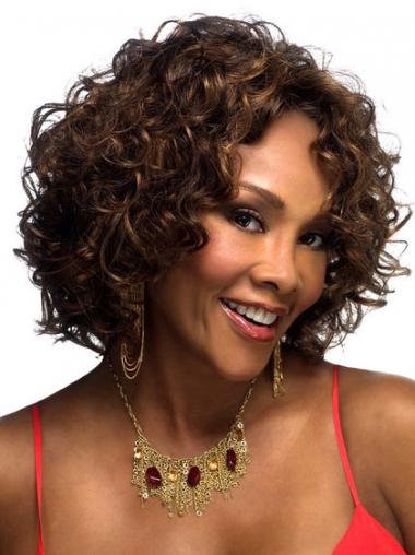 Layered Brown Curly Convenient Petite Wigs