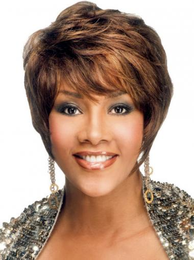 Brown Layered Straight Style African American Wigs