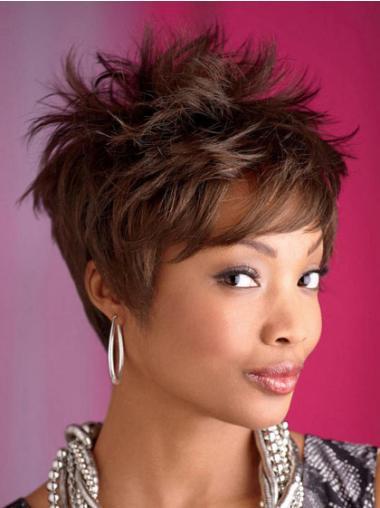Brown Boycuts Wavy Fashion African American Wigs