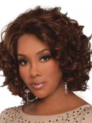 Auburn Indian Remy Hair Curly Hairstyles Medium Wigs