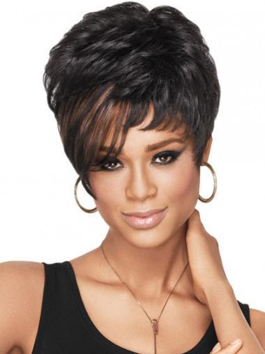 Black Boycuts Wavy Durable African American Wigs