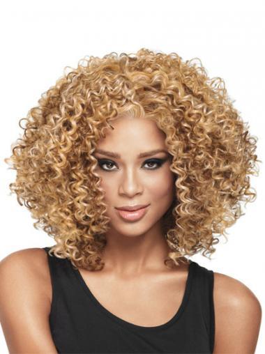 Blonde Afro Curly Modern Medium Wigs