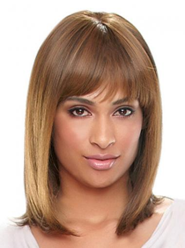 With Bangs Auburn Straight Cheap African American Wigs