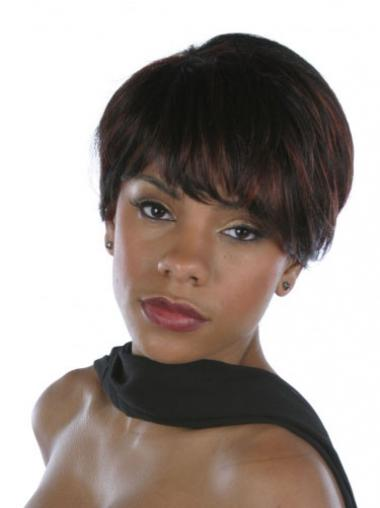 Straight Brown Layered Ideal Short Wigs