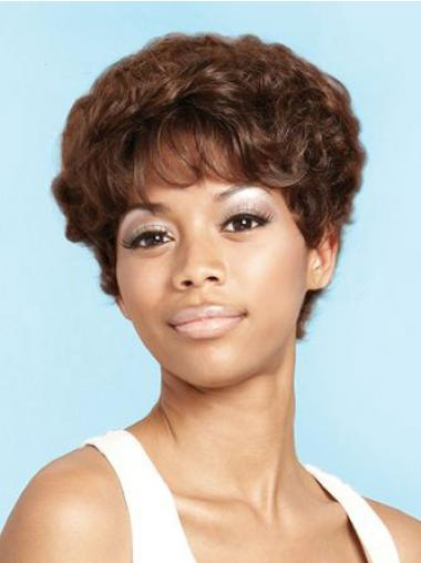 Brown Layered Curly Perfect African American Wigs