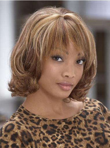 Brown With Bangs Curly No-fuss Medium Wigs
