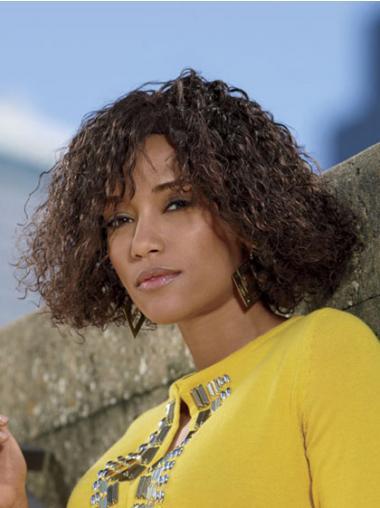 Layered Brown Curly Best Medium Wigs
