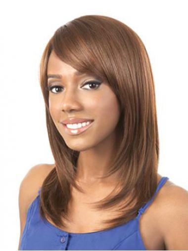 Straight Layered Auburn Beautiful African American Wigs