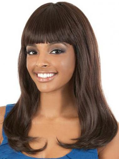 Straight Brown With Bangs Convenient African American Wigs