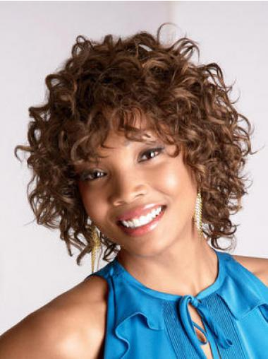 Brown Layered Curly Great African American Wigs
