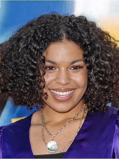 Black Afro Curly Stylish Medium Wigs
