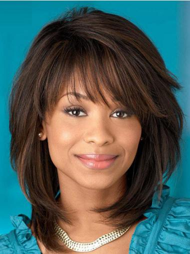 Straight Brown Layered Designed African American Wigs
