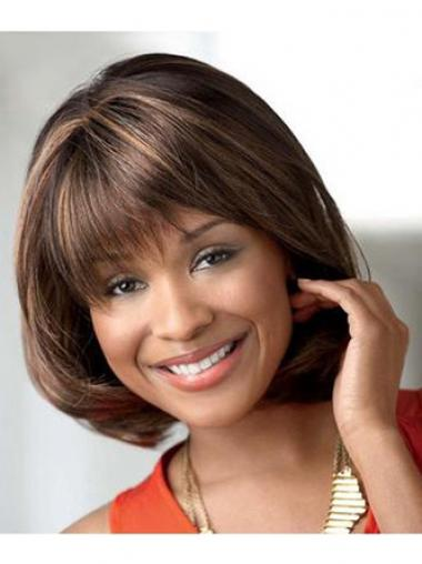 Brown Bobs Straight No-fuss African American Wigs