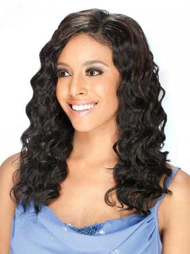 Black Brazilian Remy Hair Wavy Suitable Human Hair Lace Front Wigs