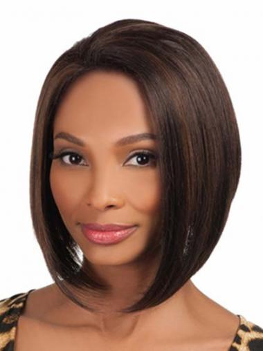 Brown Without Bangs Straight Flexibility African American Wigs