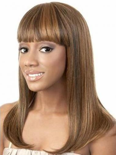 Straight Brown Indian Remy Hair High Quality African American Wigs