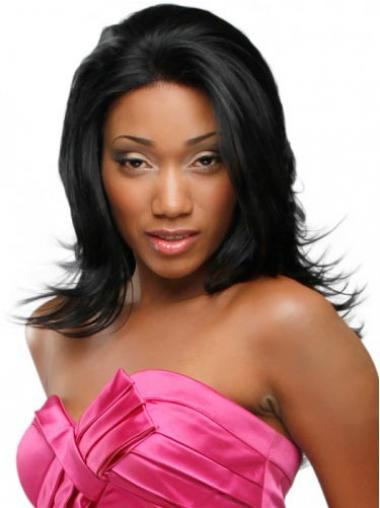 Wavy Black Without Bangs Convenient Glueless Lace Front Wigs