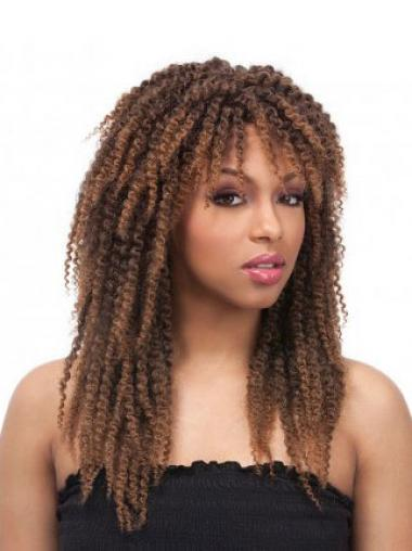 Brown Layered Curly Soft African American Wigs