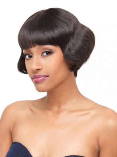 Wavy Black Brazilian Remy Hair Fashion Short Wigs