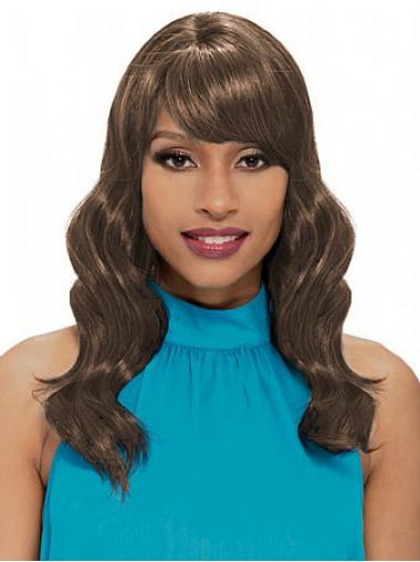 Brown With Bangs Wavy Flexibility African American Wigs