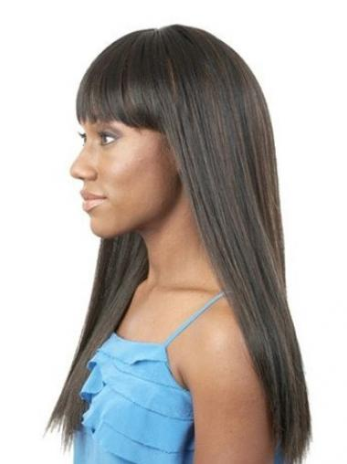 Black With Bangs Straight Ideal African American Wigs