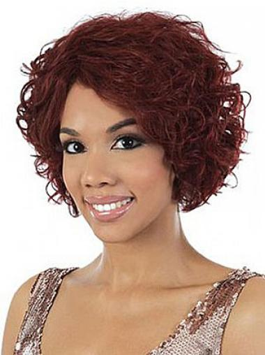 Red Brazilian Remy Hair Wavy Discount African American Wigs