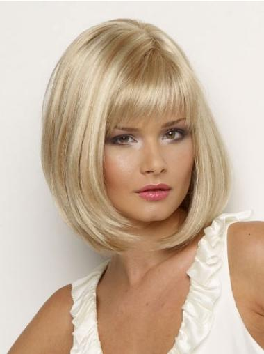Blonde With Bangs Straight Style Petite Wigs