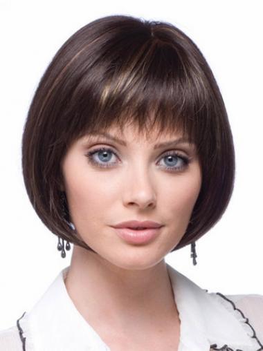 Modern Brown Bobs Straight Short Wigs