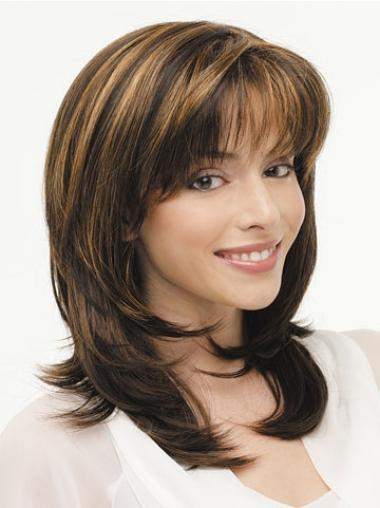 Brown Layered Straight Top Long Wigs
