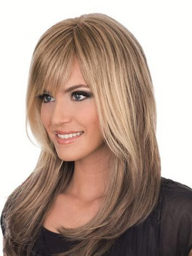 Straight Brown With Bangs Exquisite Long Wigs