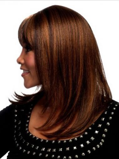 Auburn With Bangs Straight Stylish Synthetic Wigs