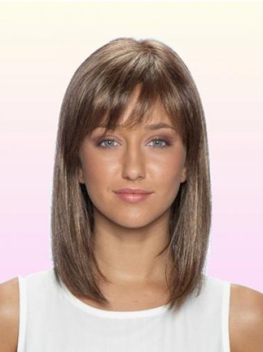 Straight Brown Lace Front New Medium Wigs