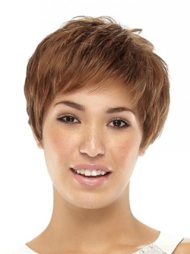 Straight Brown Boycuts Exquisite Synthetic Wigs