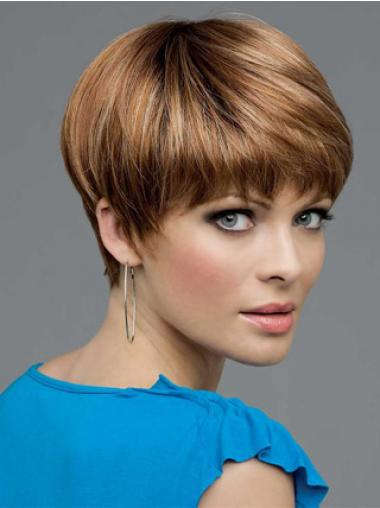 Brown Bobs Straight Soft Short Wigs