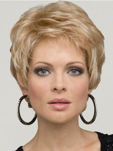 Wavy Blonde Boycuts Comfortable Short Wigs