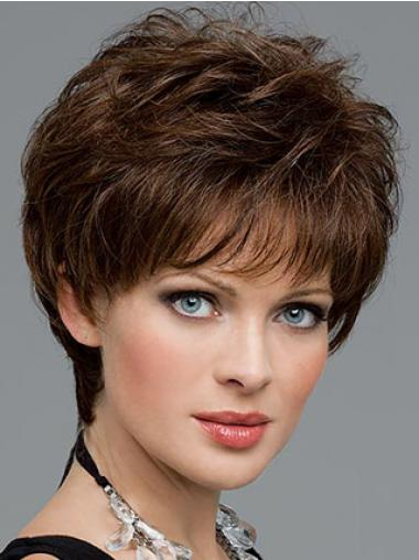 Brown Cropped Wavy Great Short Wigs