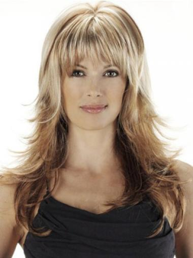 Ideal Blonde With Bangs Wavy Long Wigs