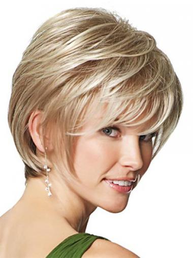 Blonde Boycuts Straight Trendy Synthetic Wigs