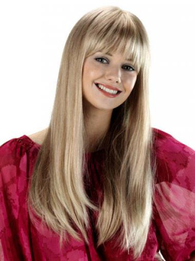 Blonde With Bangs Straight Top Synthetic Wigs