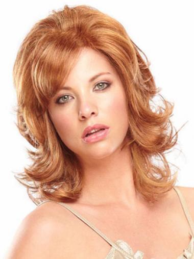 Auburn With Bangs Wavy Designed Celebrity Wigs