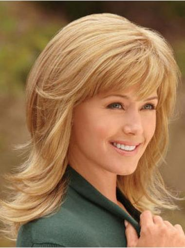 Blonde With Bangs Synthetic Fashion Synthetic Wigs