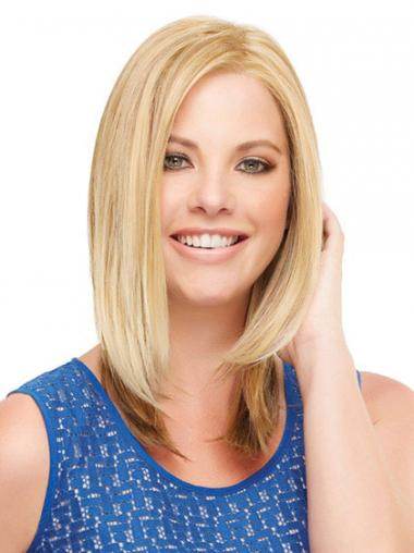 Blonde Straight Suitable Medium Wigs