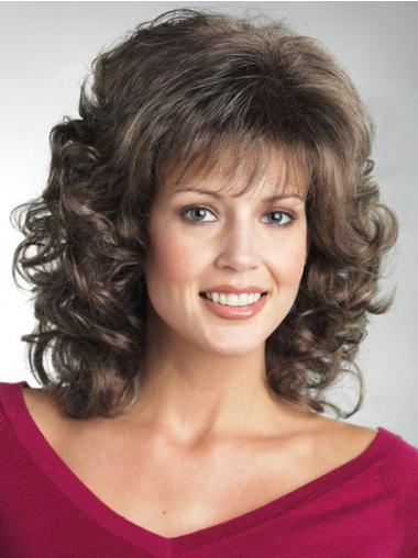 Brown With Bangs Curly Style Classic Wigs