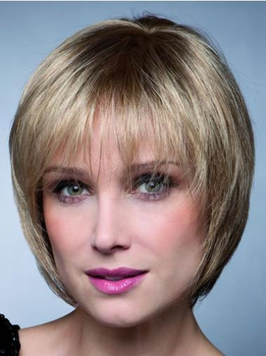 Bobs Blonde Straight Hairstyles Synthetic Wigs
