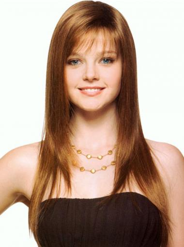 Straight Brown With Bangs Hairstyles Synthetic Wigs