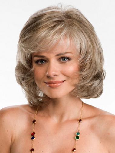 Convenient Blonde Layered Wavy Medium Wigs