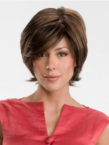 Designed Brown Lace Front Straight Medium Wigs